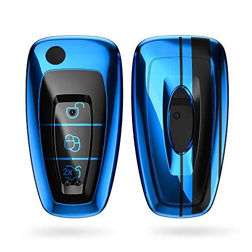 kwmobile Autoschlüssel Hülle kompatibel mit Ford 3-Tasten Klapp Autoschlüssel - TPU Schlüsselhülle Cover Rallystreifen Sidelines Schwarz Hochglanz Blau