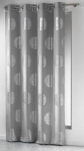 Douceur D'Intérieur  - 1604471, Tenda Con Occhielli , 140 X 260 Cm , Platine , Poliestere Stampato Argento , Grigio