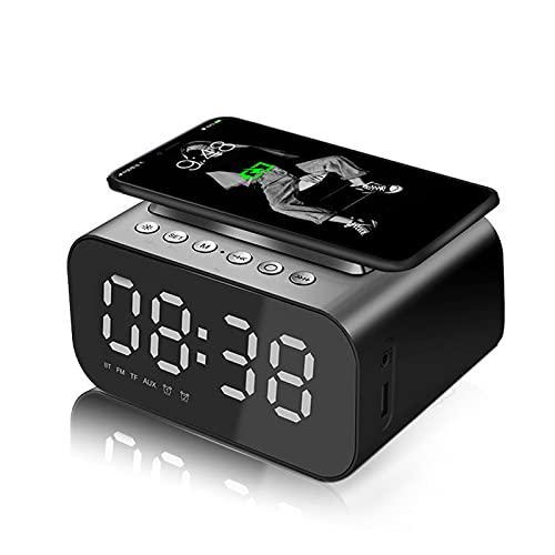 Radio Reloj Despertador Digital De Carga Inalámbrica, Reloj Despertador Digital Bluetooth, Pantalla LED Espejo Con Puerto USB, Volumen y Brillo Ajustables