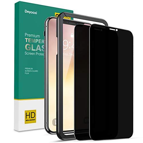 Deyooxi Cristal Templado Privacidad para iPhone 11 Pro/iPhone XS/iPhone X,2 Unidades 3D Completa de Cobertura Total Pantalla Protectora Antiespias,Anti Espía Vidrio Templado protector,Negro