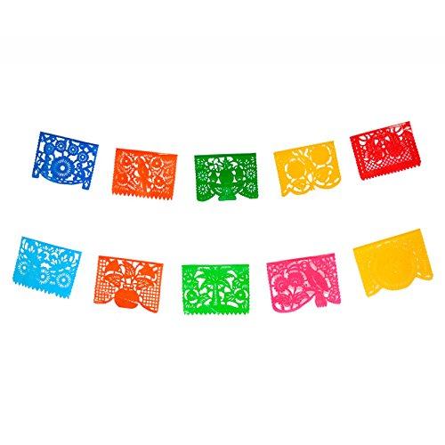 FANMEX - Fantastik - Auténtico Papel picado Mexicano - Modelo clásico 4 Metros - Decoración Fiesta Mexicana (Plástico)