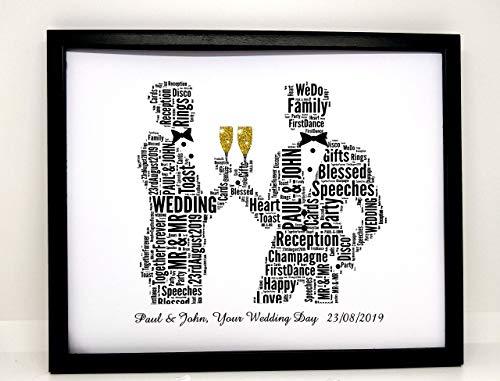 Neue personalisierte Homosexuell männliche Hochzeit oder standesamtliche Trauung, Wortkunst (B) In einem vorderen Glasrahmen, schönes Geschenk & Andenken,