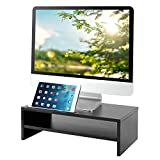 RFIVER Supporto per Monitor di Legno Tavolino PC con Supporto per Smartphone iPad e Gestione dei Cavi Nero CM1002
