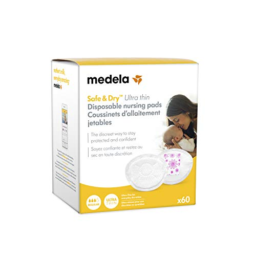 Medela Safe & Dry Ultra Thin Disposable Nursing Pads, 60 Count Breast Pads for Breastfeeding, Leakproof Design, Slender and Contoured for Optimal Fit and Discretion