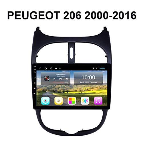 LFEWOZ 9-Zoll-Display Auto-Spieler GPS-Navigation - Anwendbar für Peugeot 206 2000-2016, Autostereoradio Head Unit Multimedia Bluetooth Android Fm Audio