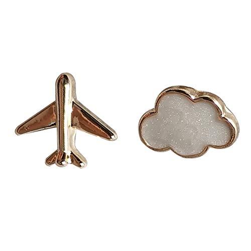 Lindos Mini Pendientes De Botón Pendientes Asimétricos De Nubes De Avión Pequeña Joyería De Oreja De Estudiante H2363 Un par de pinzas para las orejas de oso