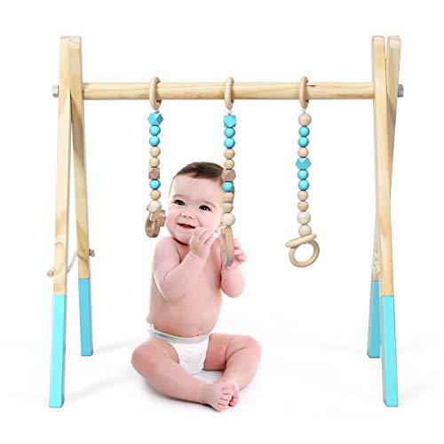 COSTWAY Palestrina per Bambini, Palestrina con Giocattoli per Dentizione Sviluppo Cerebrale Stimolazione Sensoriale, Pieghevole, in Legno, per Bambini 3+ Mesi (Verde)