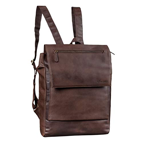 STILORD 'Maurice' Daypack Vintage Leather Men Women Business Bag for 13,3 inch Laptop Work...