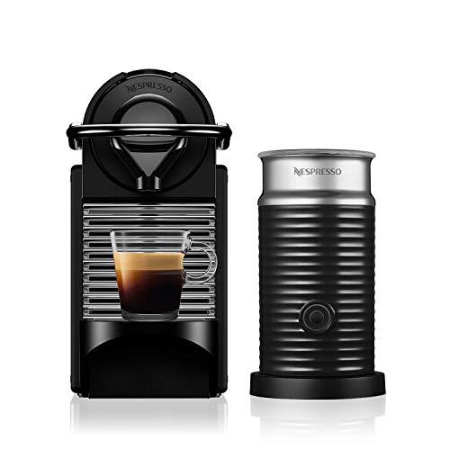 NESPRESSO  Cafetera  Pixie Clips, Negra y Verde (Incluye obsequio de 14 cápsulas de café)