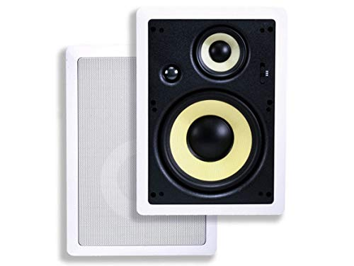 Monoprice 3-Way Fiber In-Wall Speakers - 8 Inch (Pair) With Removable...
