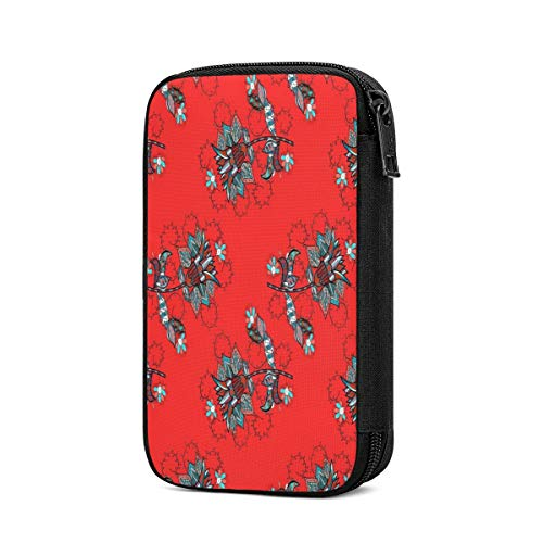 Travel Cable Organizer Flower Raster,Red,Black,Blue Line Graphic Pattern Abstract Modern Stylish Universal Electronics Accessories Storage Bag for Cord,Earphone,USB Flash Drive,Memory Card More,Lightw