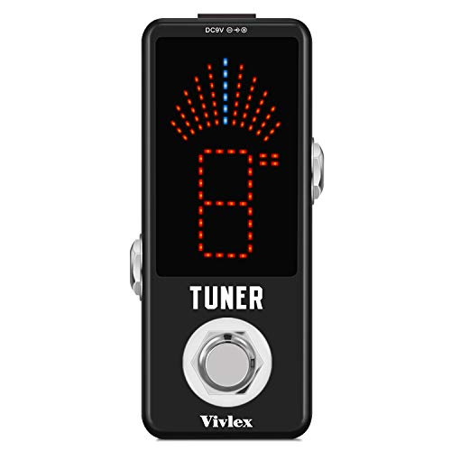 Vivlex LT-910 Chromatic Tuner Pedal High Precision Mini Tuner Effects Pedal for Guitar and Bass HD LED Display Full Metal Shell with True Bypass