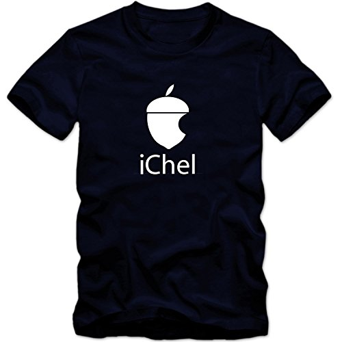 Herren Men T-Shirt iChel Parodie Eichel Fun Logo Computer Fun Tee S-3XL Neu, Größe:XXL;T-Shirt:Dunkelblau;Aufdruck:Weiß
