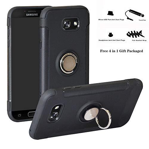 Labanema Galaxy A7 2017 Funda, 360 Rotating Ring Grip Stand Holder Capa TPU + PC Shockproof Anti-rasguños teléfono Caso protección Cáscara Cover para Samsung Galaxy A7 2017 - Negro