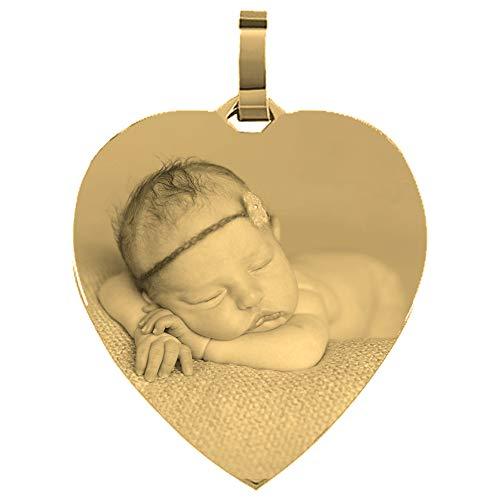 Anhänger Herz vergoldet Edelstahl mit eigener Fotogravur/Bildgravur gelb