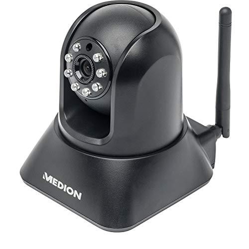 MEDION P86019 WLAN LAN Überwachungskamera Innen (Netzwerk IP Camera, VGA, CMOS Farbsensor, Bewegungserkennung, Nachtmodus, schwankbar) schwarz