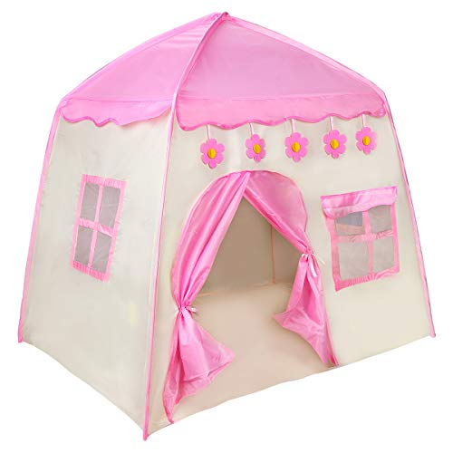 Zwini Tienda para niños Tienda para niños Plegable Casa Grande para niños Casa Princesa Rosa Castel Incluye Bolsa de Transporte portátil para Juegos en Interiores y Exteriores (51x51x39 Pulgadas)