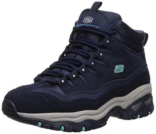 Skechers Energy Kurzschaft Stiefel Damen, Blau (Navy Leather/Mesh Nvy), 39 EU