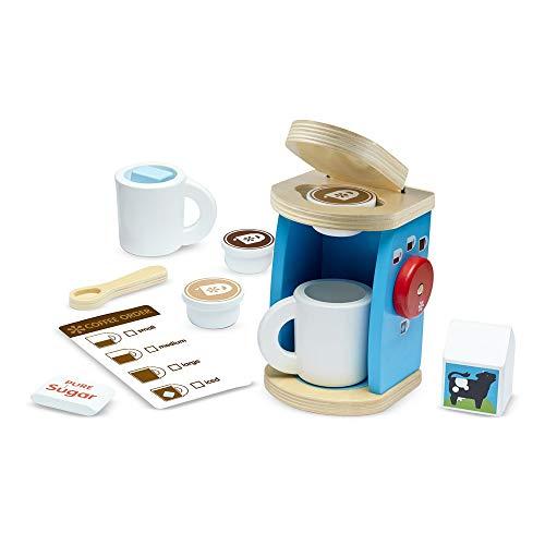 Melissa & Doug 11-Piece Brew and Serve Wooden Coffee Maker Set - Play Kitchen Accessories