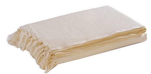 EHC Tagesdecke/Überwurf, 179x 254cm, 100% Baumwolle, Waffelmuster, Natur, Doppelbett