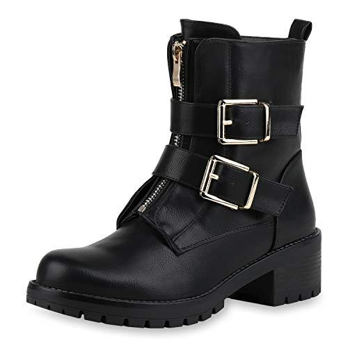 SCARPE VITA Damen Biker Boots Profilsohle Stiefeletten Plateaustiefel Zipper Leder-Optik Schuhe 177254 Schwarz Gold 36