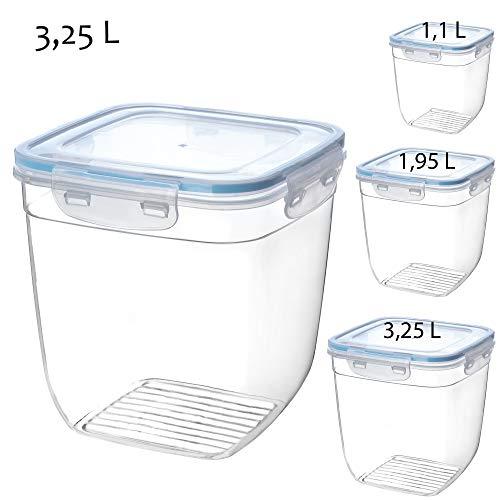 KADAX Frischhaltedose mit Deckel, klick-it, Lebensmittelbehälter aus Kunststoff, geeignet für Kühlschrank, Mikrowelle, Gefrierschrank, Vorratsdose, luftdicht, transparent/blau (3,25L)