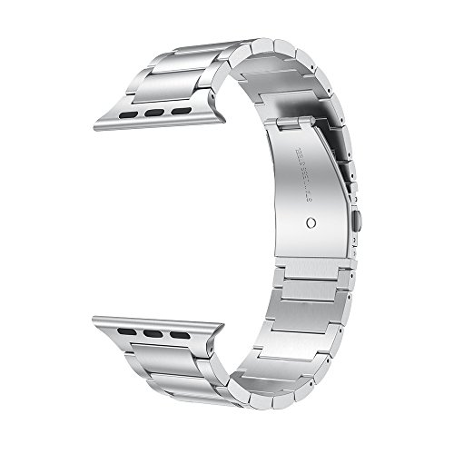 LDFAS Compatible for Apple Watch Band 44mm/42mm, Solid Stainless Steel Metal Link Bracelet Bands Compatible for Apple Watch Series 5/4/3/2/1, Silver