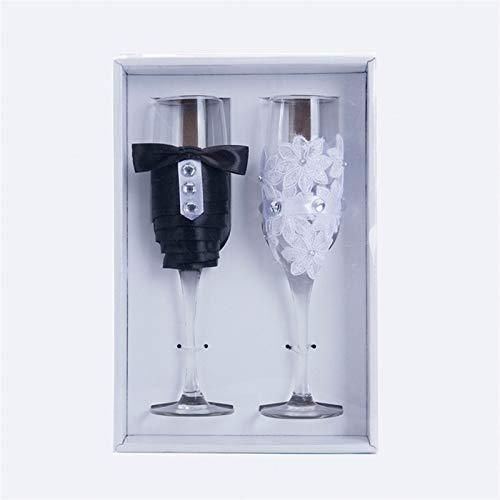 Copas De Vino 1 par de champán de vino de boda champán vino tinto vino taza azul vestido champagne copa de boda suministros de boda copas de vino de alto grado 1 ( Capacity : 301 400ml , Color : C )