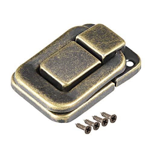 sourcing map Pestillo basculante, 40mm de bronce Cierre decorativo de la caja de la maleta de la cerradura con pasador 2 PC