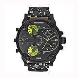 Emilyisky Hombres de Moda de Acero Inoxidable Reloj de Pulsera de Cuarzo analógico Pulsera para Hombre Relojes de Gran tamaño Reloj mecánico automático Negro y Camuflaje