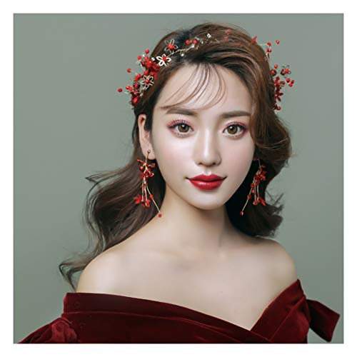 QFF Q Corona de Flores Hechos a Mano Diadema Vestido de Novia Rojo Vestido de Boda Joya F