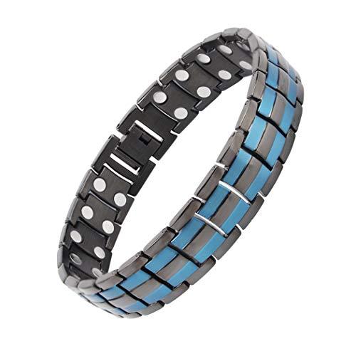 Shoguu Pulsera Magnética Elegante Azul para Hombre, Alivio del Dolor de la Pulsera con Doble Imán Fuerte de Acero de Titanio para la Artritis y el Túnel Carpiano (Líneas Azules Dobles)