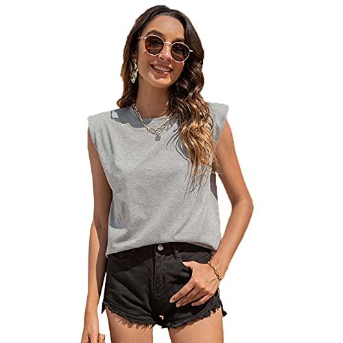 Camiseta con Cuello Redondo Informal De Moda Simple De Color SóLido Sin Mangas con Soporte De Hombro para Hombre