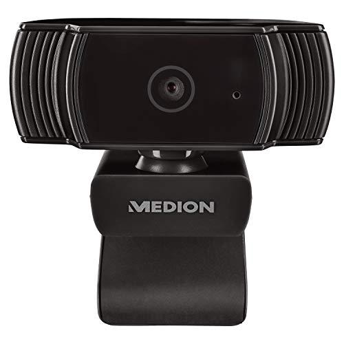 MEDION P8366 Webcam mit Mikrofon (Full HD 1080p, 30 Bildern pro Sek, Fotomodus, Autofokus inklusive Belichtungskontrolle, flexibel aufstellbar)