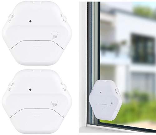 VisorTech Alarma de Rotura de Vidrio: Juego de 2 detectores de Rotura de Vidrio extrafinos, 2 Pasos, 95 dB, 54 Meses (Detector de Rotura de Vidrio)