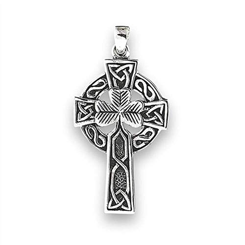 Celtic Cross Pendant .925 Sterling Silver Clover Trinity Knot Charm