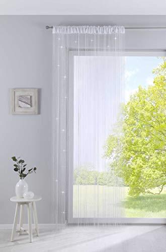 Fadengardine, HxB 250x140 cm, Weiß Lurex mit Tunneldurchzug und eingenähtem Kräuselband, geeignet für Gardinenstangen und Gardinenschienen Fadenvorhang Fadenstore Raumteiler, 20303CN