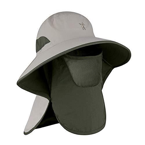 Powcan Gorra de Pesca al Aire Libre 360 ° Protección Solar Sombrero...