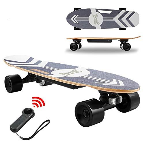 Devo Skateboard Eléctrico, Longboard Eléctrico a Control Remoto para Adultos/Jóvenes, 70cm Skateboard de Velocidad Máxima de 20 KM/H, Motor 350 W, Monopatín de Crucero Completo (Negro)
