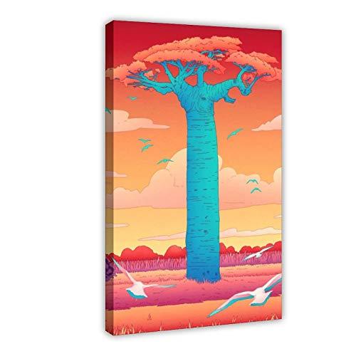Art Madagascar Baobab - Póster de lienzo para pared, decoración de pared, para sala de estar, dormitorio, marco de decoración de 50 x 75 cm
