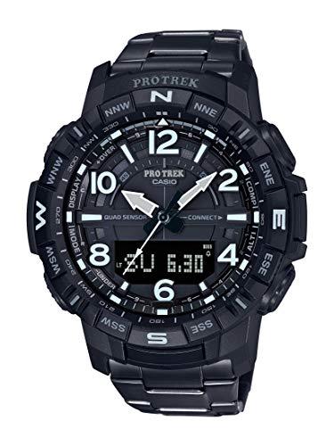 Casio Men's Pro Trek Bluetooth Connected Quartz Fitness Watch with Titanium Strap, Black, 23 (Model: PRT-B50YT-1CR)