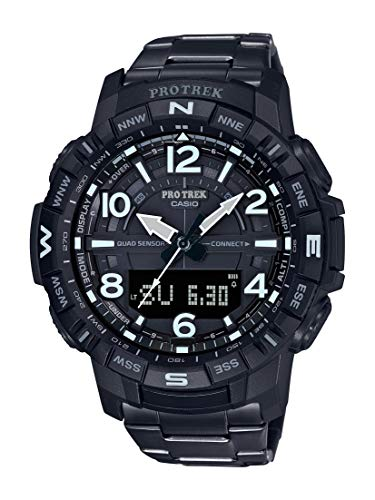 Casio Men's Pro Trek Bluetooth Connected Quartz Fitness Watch with Titanium Strap, Black, 23 (Model: PRT-B50YT-1CR)