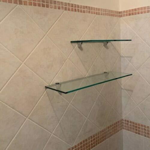 Mensola in vetro temperato lucido trasparente da bagno con fissaggi cromo (50X18X0,8)