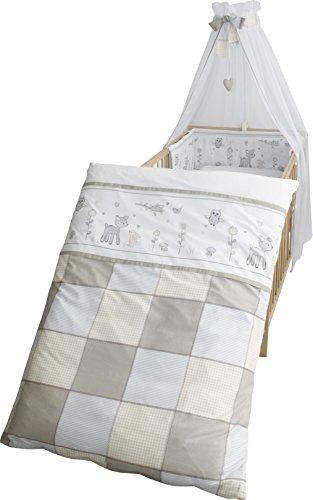 roba Kinder-Bettgarnitur 4-tlg, Babybett-Ausstattung 'Tierfreunde', Bettset 4-teilig: Bettwäsche 100x135 (Decke & Kissen), Nestchen, Himmel
