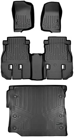SMARTLINER Custom Floor Mats 2 Rows and Cargo Liner Set Black for 2018 2021 Jeep Wrangler JL product image