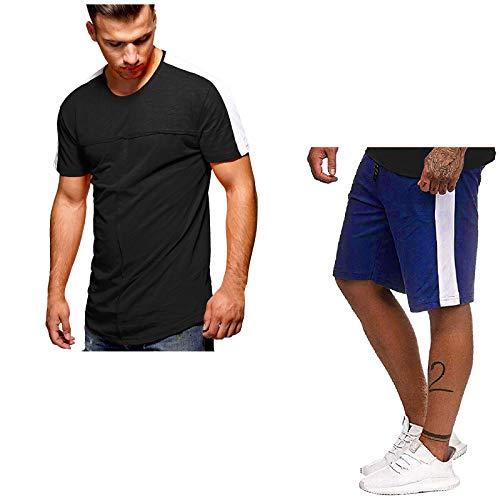 YANFANG Conjunto De CháNdal Running, Fitness,Traje Deportivo Verano para Hombre con Mangas Cortas Y Cuello Redondo A Rayas,Azul,L