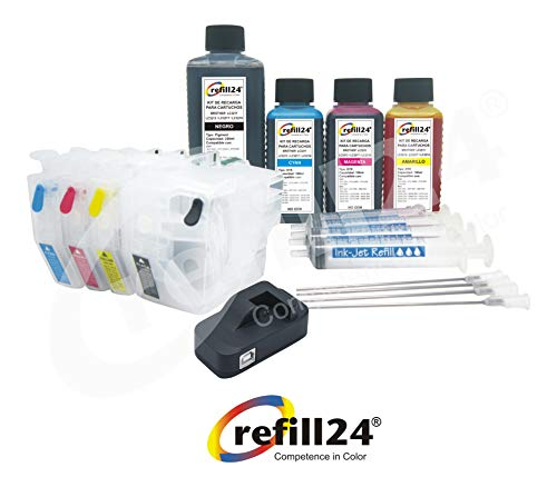 Cartuchos Recargables, Compatible para Brother LC3217, LC3219 Negro y Color. Incluye reseteador y Accesorios + 550 ML de Tinta