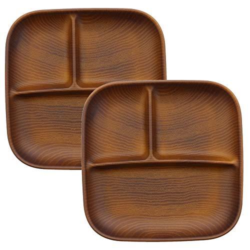 テーブルウェアイースト ランチプレート 角型3つ仕切り レンジ・食洗機OK ペアセット 仕切り皿 ワンプレート 木製プレート 子ども食器(2枚セット ライトブラウン)