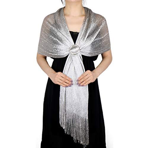 KAVINGKALY Damen Metallic Seidenfaden Schals und Wickel für Abendkleider mit Fransen (Silber (mit silberner Schnalle))