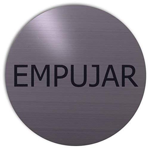 Xaptovi Türschild text: Empujar | 5 Jahre Garantie | metallic silber | Piktogramm | schild | hinweisschild
